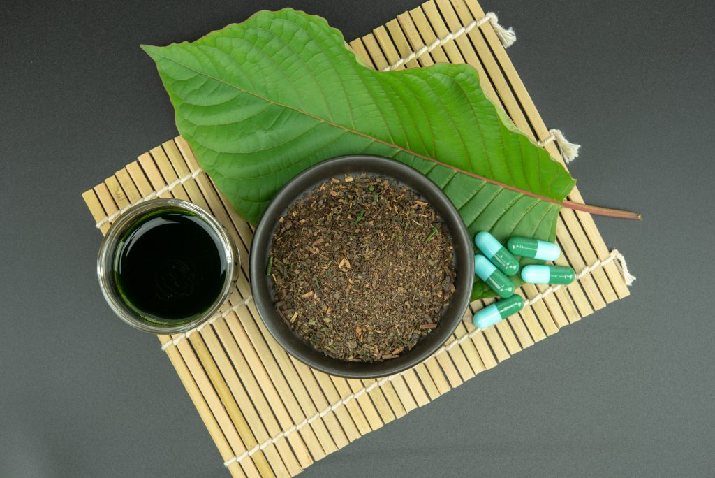 Mitragynina speciosa or Kratom leaves with powder product in white ceramic bowl and water from the extracts the kratom leaves.