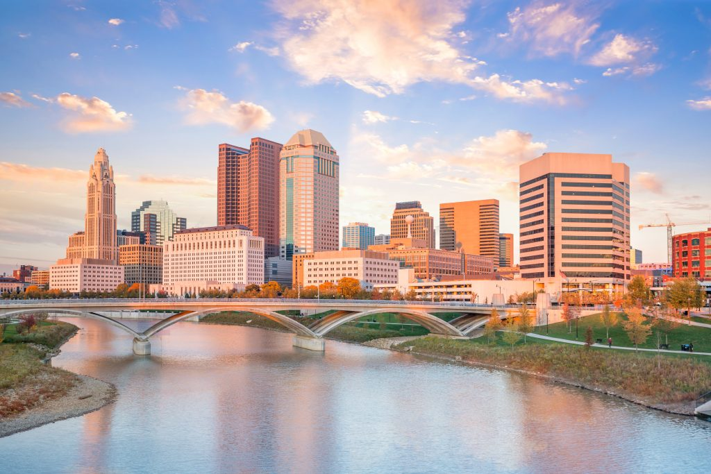 View of downtown Columbus Ohio Skyline at Sunset in USA