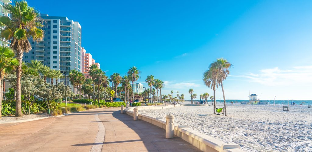 Clearwater beach with beautiful white sand in Florida