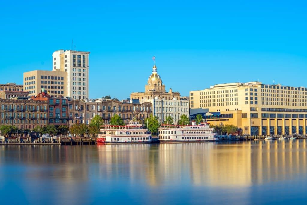 Riverfront of downtown Savannah in Georgia, USA