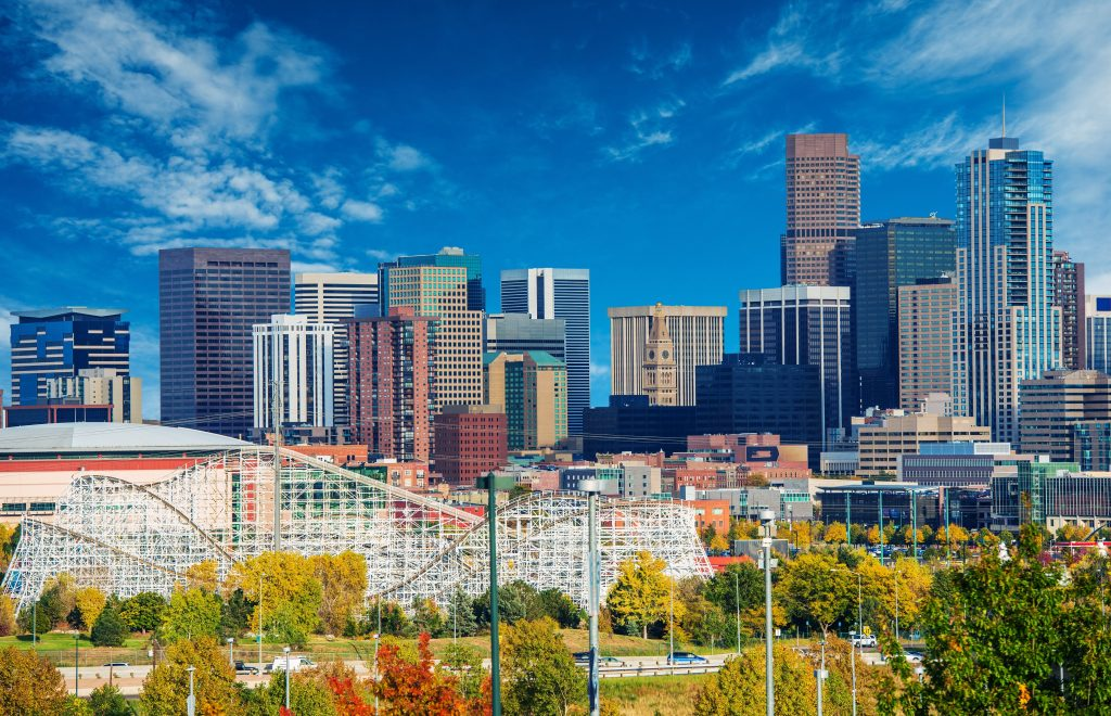 Sunny Day in Denver Colorado, United States. Downtown Denver City Skyline and the Blue Sky.