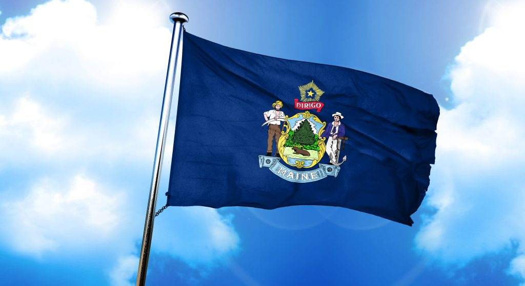 maine flag, 3D rendering, on a cloud background