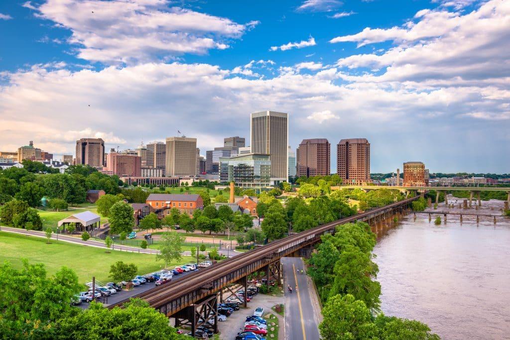 Richmond, Virginia, USA downtown skyline on the James River.